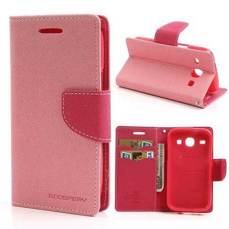 Samsung Galaxy Core Modisches Leder Case - rosa/pink