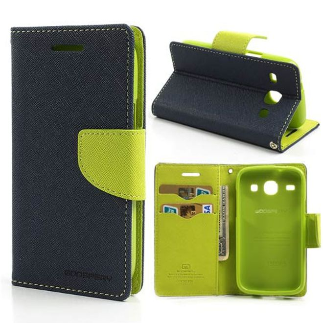 Goospery Mercury Goospery - Samsung Galaxy Core Hülle - Handy Bookcover - Fancy Diary Series - navy/lime