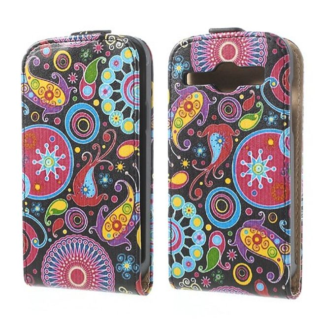 Samsung Galaxy Core Leder Case mit farbenfrohem Muster