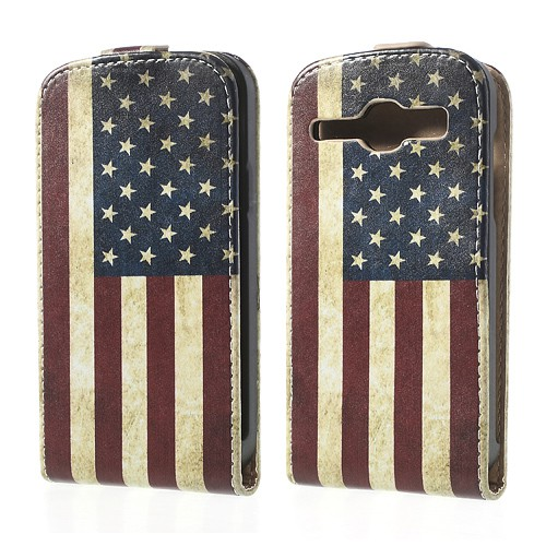 Samsung Galaxy Core Leder Case mit USA Nationalflagge retro-style