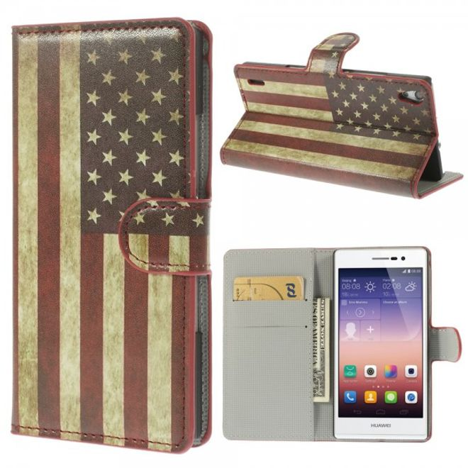 MU Style Huawei Ascend P7 Leder Case mit USA Nationalflagge retro-style