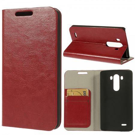 LG G3 Crazy Horse Leder Case mit Kreditkartenschlitz - rot