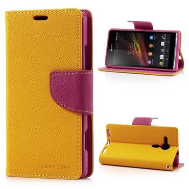 Sony Xperia SP Modisches Leder Case mit Standfunktion - rosa/gelb