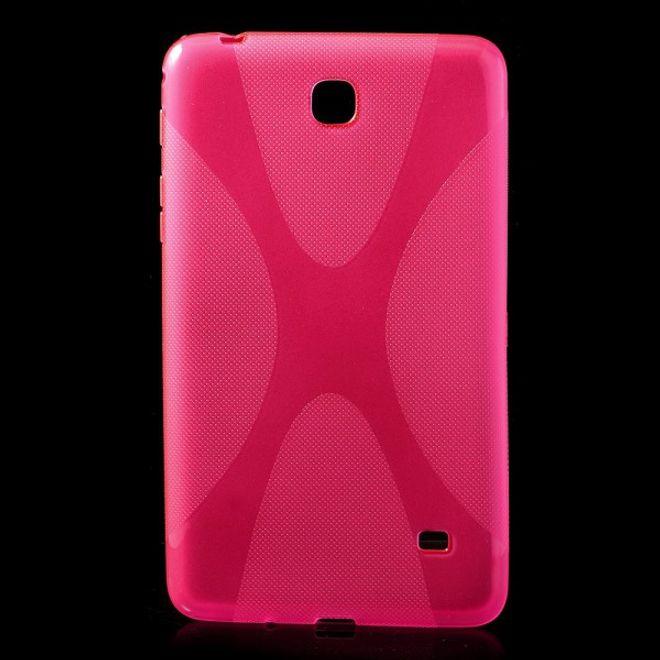 MU Classic Samsung Galaxy Tab 4 7.0 Elastisches Plastik Case X-Shape - rosa