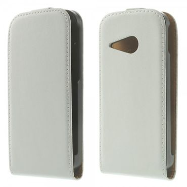 HTC One Mini 2 (M8 Mini) Trendiges Echtleder Flip Case - weiss