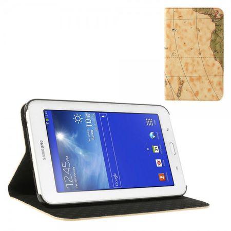 Samsung Galaxy Tab 3 7.0 Lite Leder Case mit Weltkarte - hellbraun