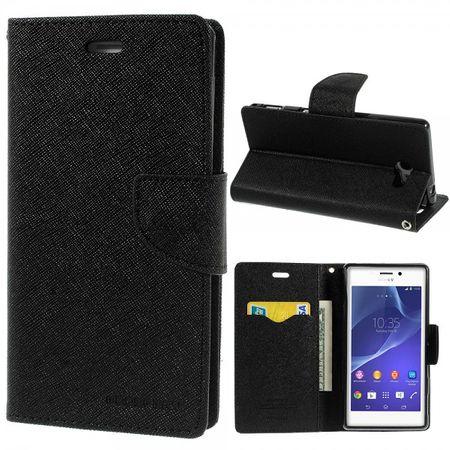 Sony Xperia M2/M2 Dual Modisches Leder Case mit Standfunktion - schwarz