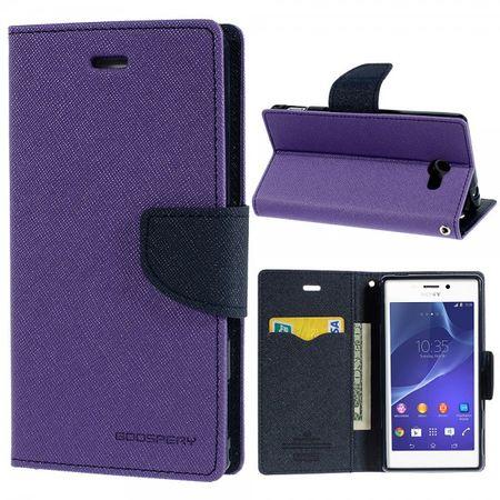 Sony Xperia M2/M2 Dual Modisches Leder Case mit Standfunktion - dunkelblau/purpur