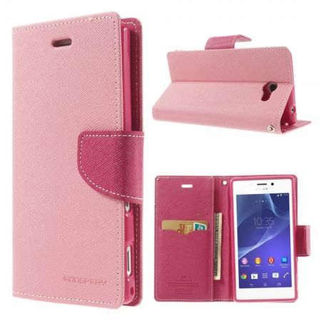 Sony Xperia M2/M2 Dual Modisches Leder Case mit Standfunktion - pink