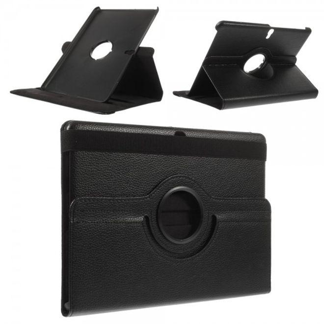 Samsung Galaxy Tab S 10.5 (T800/T801/T805) Leder Case 360° rotierbar mit Litchimuster - schwarz