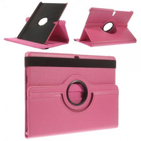 Samsung Galaxy Tab S 10.5 (T800/T801/T805) Leder Case 360° rotierbar mit Litchimuster - rosa