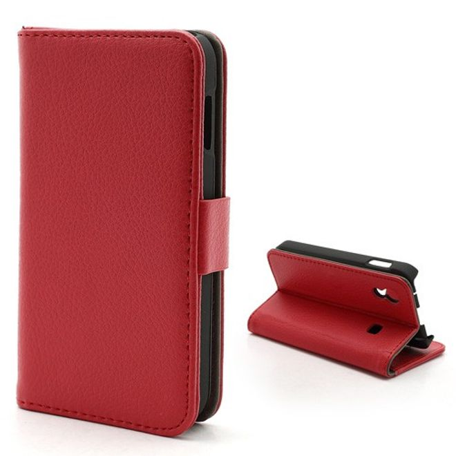 MU Classic Samsung Galaxy Ace 1 (S5830) Magnetisches Leder Case mit Litchimuster - rot