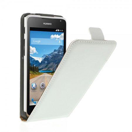 Huawei Ascend Y530 Elegantes Echtleder Flip Case - weiss