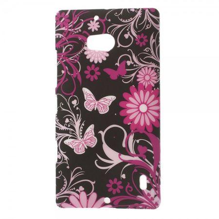 Nokia Lumia 930 Hart Plastik Case mit Schmetterlingen und Blumen - schwarz