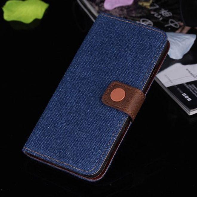 iPhone 6/6S Trendiges Jeans Leder Case - dunkelblau