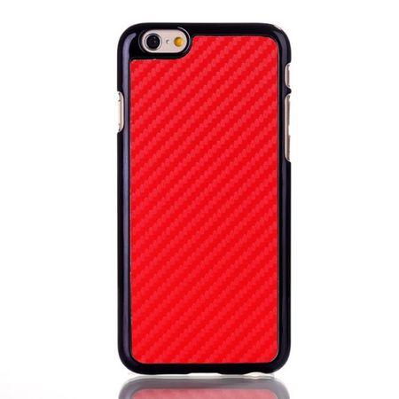 iPhone 6/6S Lederüberzogenes Hart Plastik Case mit Karbonfasermuster - rot