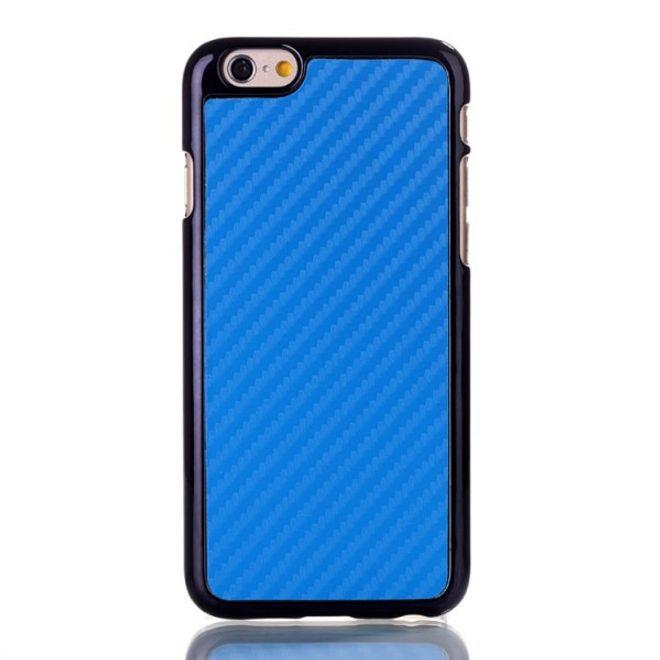 MU Classic iPhone 6/6S Lederüberzogenes Hart Plastik Case mit Karbonfasermuster - blau