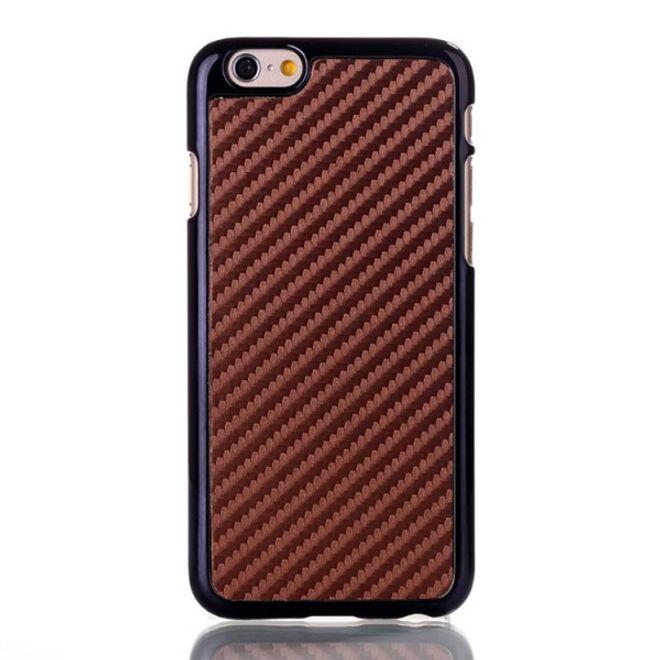 iPhone 6/6S Lederüberzogenes Hart Plastik Case mit Karbonfasermuster - braun