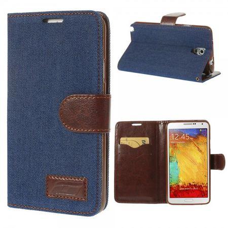 Samsung Galaxy Note 3 Lite/Neo Trendiges Leder Case im Jeans-look - dunkelblau