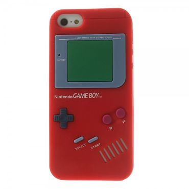 iPhone SE/5S/5 Silikon Case im Nintendo GameBoy Look - rot