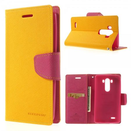 Goospery - LG G3 Hülle - Handy Bookcover - Fancy Diary Series - gelb/pink
