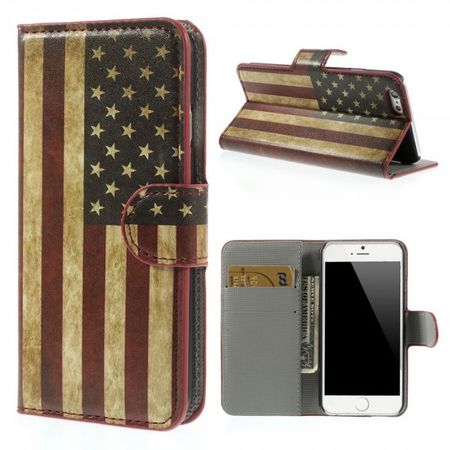 iPhone 6/6S Leder Case mit USA Flagge retro-style