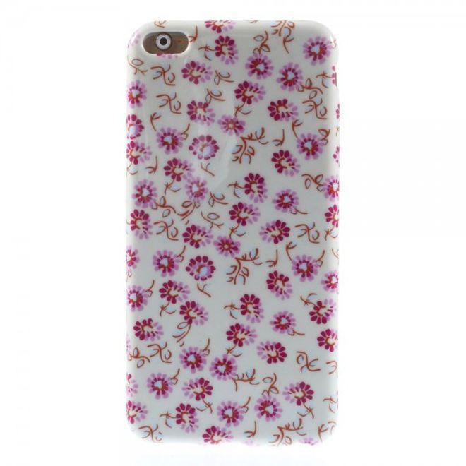 MU Style iPhone 6 Plus/6S Plus Elastisches Plastik Case mit pinken Blumen