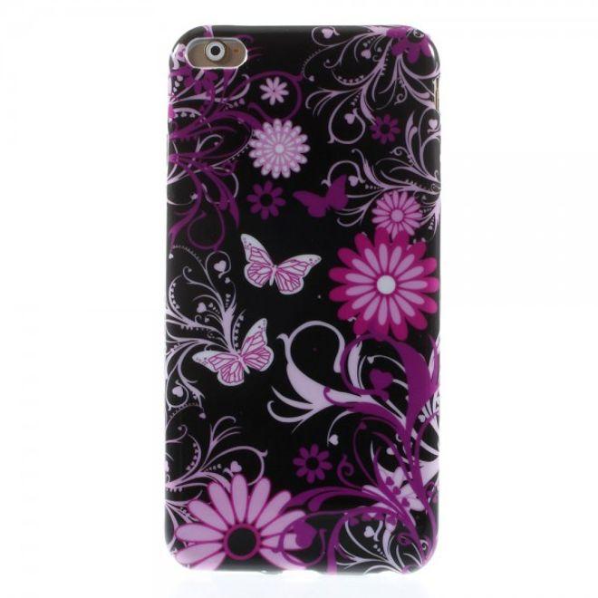 iPhone 6 Plus/6S Plus Elastisches Plastik Case mit Schmetterlingen und Blumen - schwarz