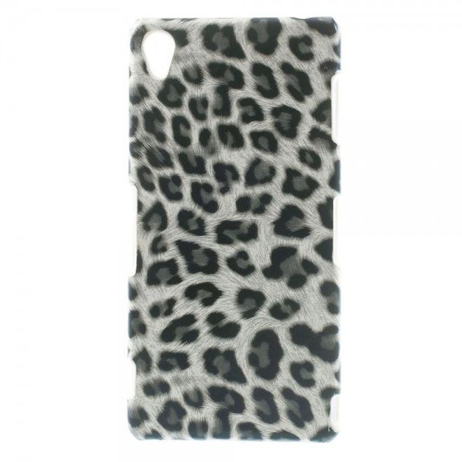 Sony Xperia Z3 Lederartiges Leoparden Plastik Case - grau