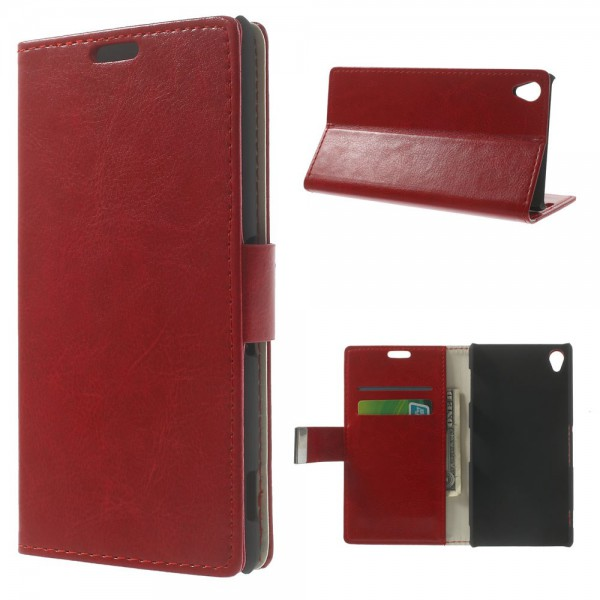 Sony Xperia Z3 Crazy Horse Leder Case mit Standfunktion - rot