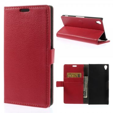 Sony Xperia Z3 Leder Case mit Litchimuster - rot
