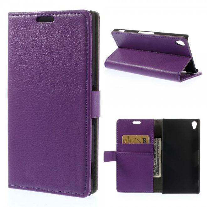 MU Classic Sony Xperia Z3 Leder Case mit Litchimuster - purpur
