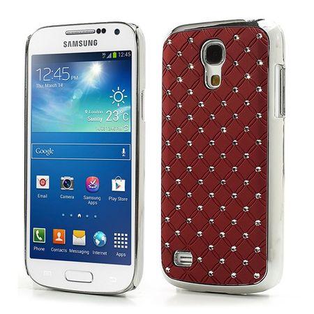 Samsung Galaxy S4 Mini Hart Plastik Case mit Glitzersteinen - rot