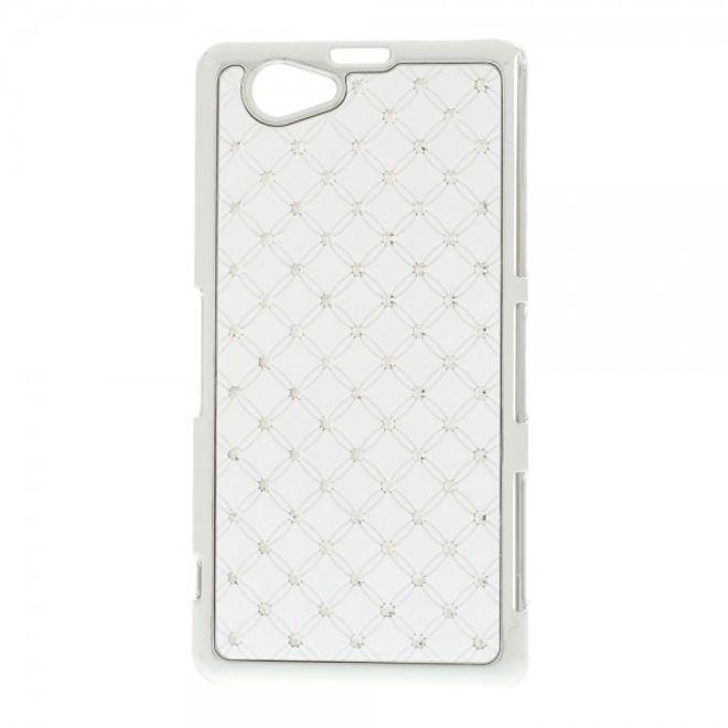 MU Style Sony Xperia Z1 Compact Hart Plastik Case mit Glitzersteinen - weiss