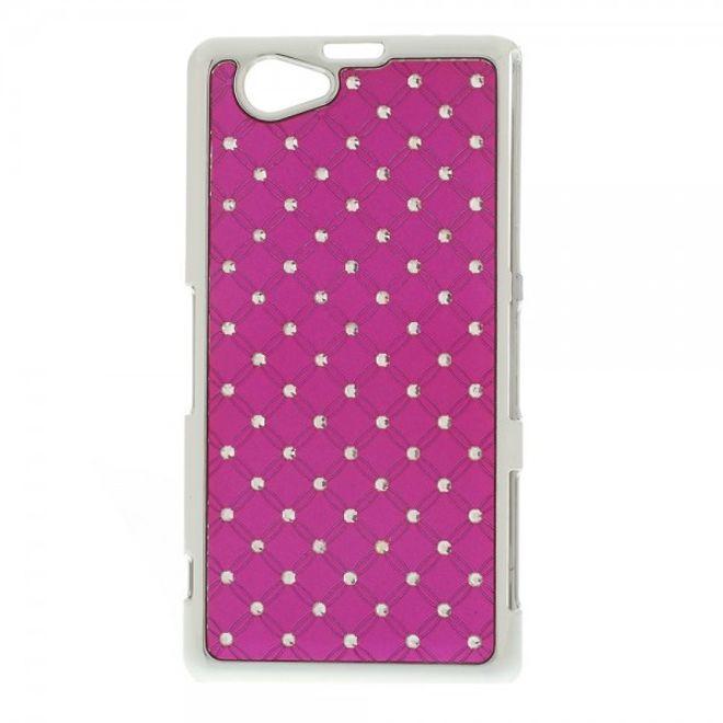 MU Style Sony Xperia Z1 Compact Hart Plastik Case mit Glitzersteinen - rosa