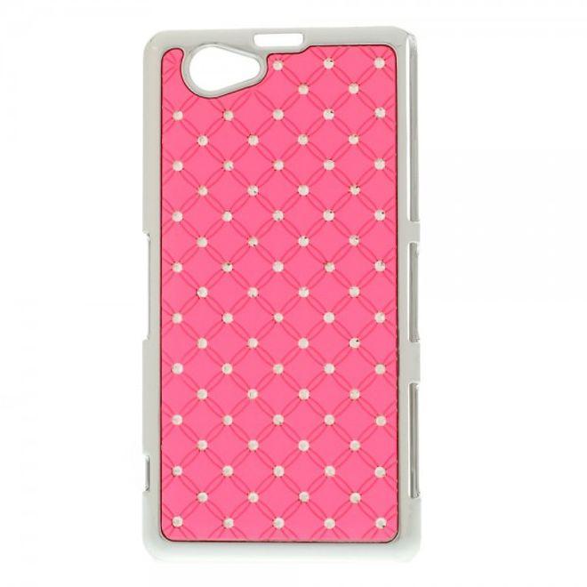 MU Style Sony Xperia Z1 Compact Hart Plastik Case mit Glitzersteinen - pink