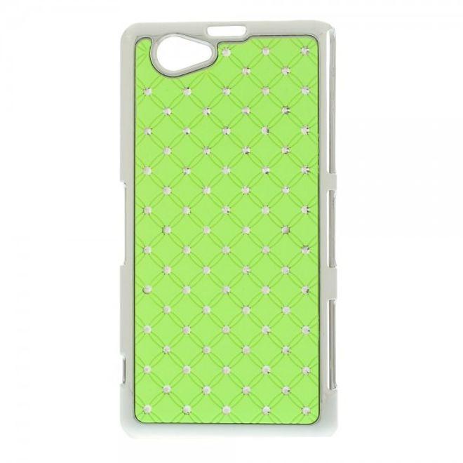 MU Style Sony Xperia Z1 Compact Hart Plastik Case mit Glitzersteinen - grün