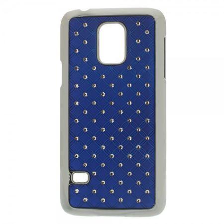 Samsung Galaxy S5 Mini Hart Plastik Case mit Glitzersteinen - dunkelblau