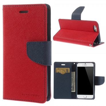iPhone 6/6S Modisches Mercury Leder Case mit Standfunktion - rot