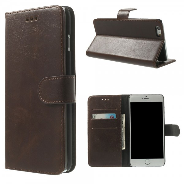 iPhone 6 Plus/6S Plus Leder Case retro-style - kaffeefarben