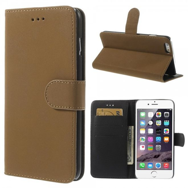 iPhone 6 Plus/6S Plus Mattes Leder Case mit Standfunktion - braun