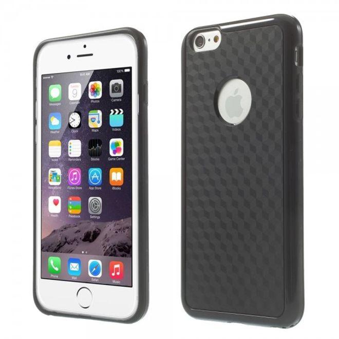 iPhone 6 Plus/6S Plus Elastisches Plastik Case mit Würfelmuster - schwarz