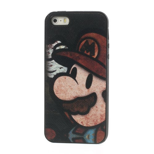 iPhone SE/5S/5 Lederartiges Plastik Case mit Super Mario - schwarz