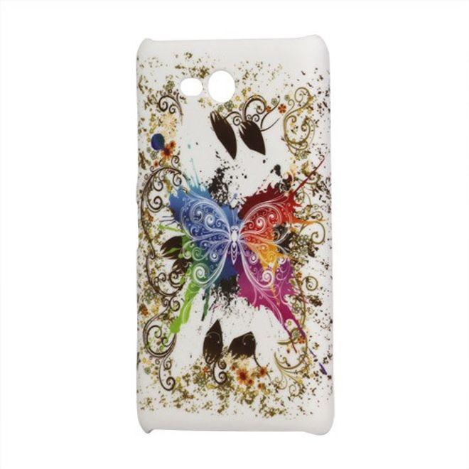 Nokia Lumia 820 Hart Plastik Case mit farbigem Schmetterling - weiss