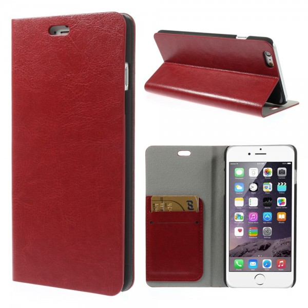 iPhone 6 Plus/6S Plus Crazy Horse Leder Case mit Standfunktion - rot