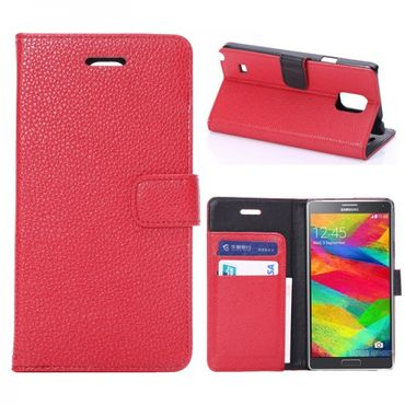 Samsung Galaxy Note 4 Leder Case mit Litchimuster - rot