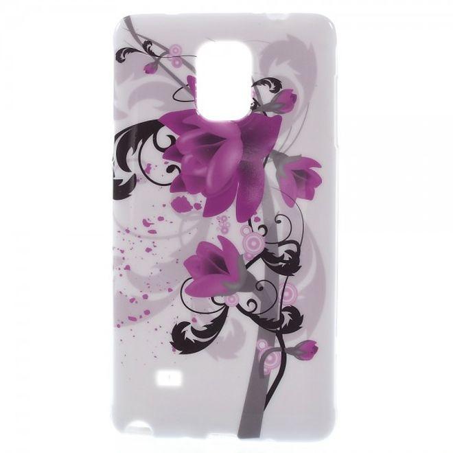 Samsung Galaxy Note 4 Elastisches Plastik Case mit Lotus Blumen