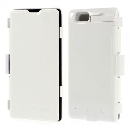 Sony Xperia Z1 Compact Crazy Horse Leder Akku Case 3200mAh - weiss