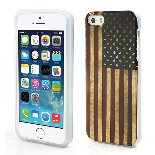 iPhone SE/5S/5 Elastisches Plastik Case mit USA Flagge retro-style