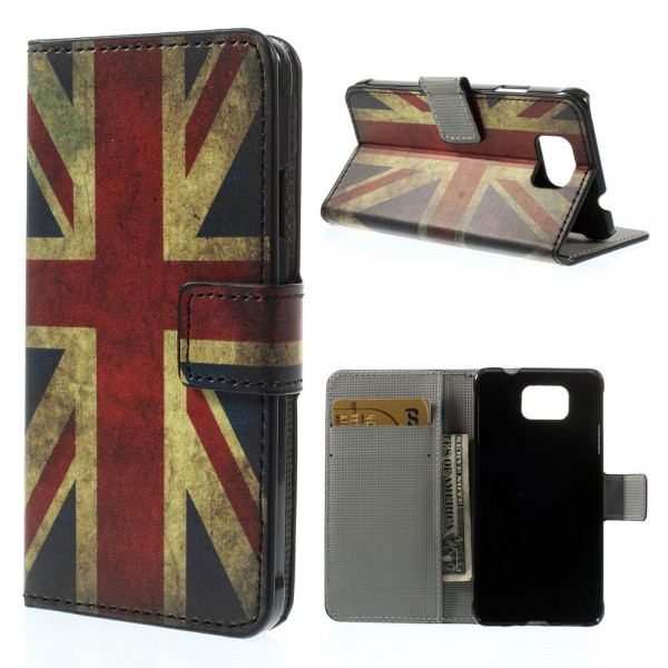 Samsung Galaxy Alpha Leder Case mit UK Nationalflagge retro-style
